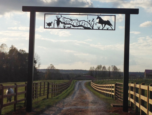 Two Creeks Ranch Custom Metal Ranch Entrance Sign - Shelby, AL