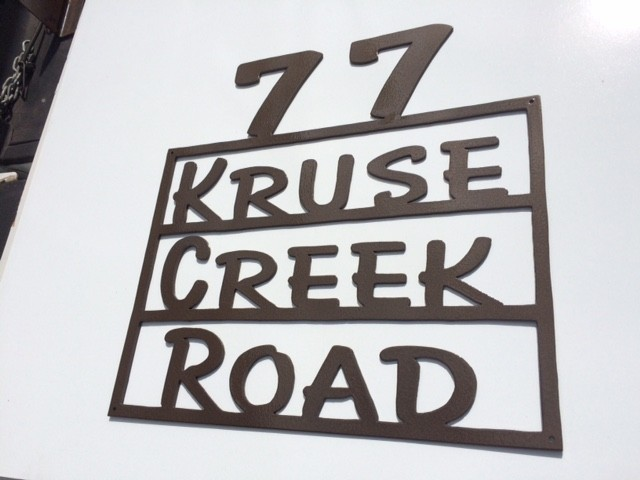 77 KRUSE CREEK ROAD address sign