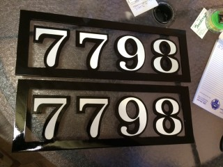 Reflective vinyl used on the address numbers