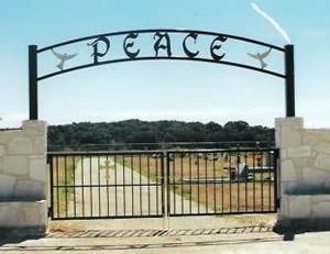 Peace ranch gate sign