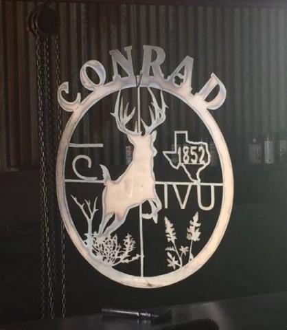 Conrad ranch sign for Cuero, Texas