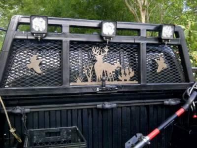 Pickup truck headache rack customized with Torchcraft metal art